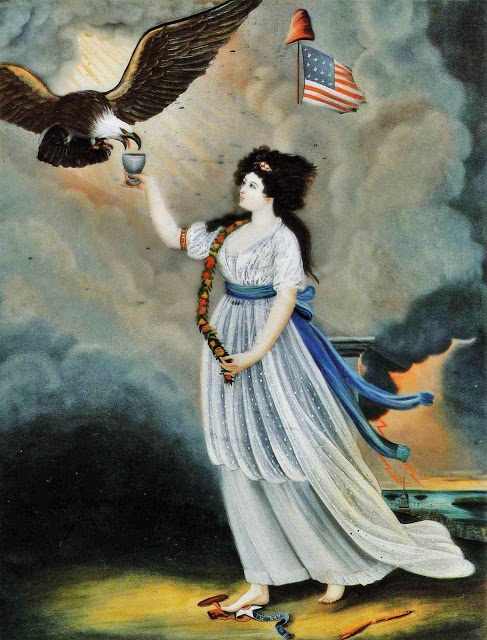 Abijah Canfield Liberty in the Form of the Goddess of Youth Giving Support to the Bald Eagle, 1800 now at the Henry Ford Museum and Greenfield Village