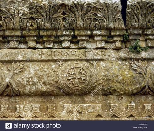 syria-church-of-qalb-lozeh-c460-chi-rho-detail-near-harim-DF9HMN.jpg